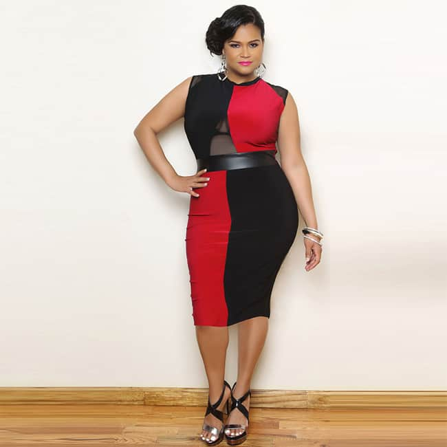 Red and Black Plus Size Leather Dresses for Winter