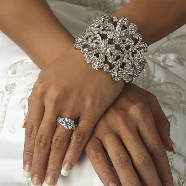 Rhinestone Bridal Ring and Cuff Bracelet Pictures
