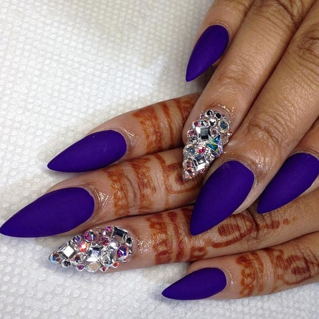 Royal Blue Matte Rhinestones Nail Designs for Brides