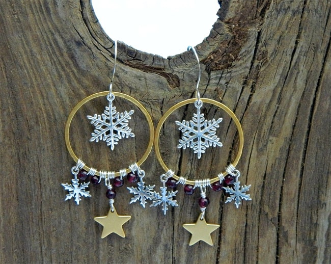 Snowflake Star Style Silver Earrings for Holidays