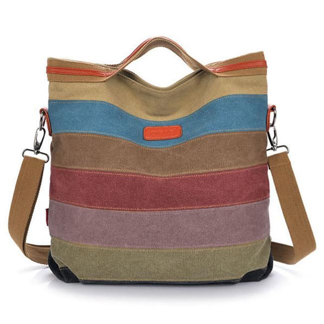 Striped Crossbody Contrast Color Canvas Tote 2016