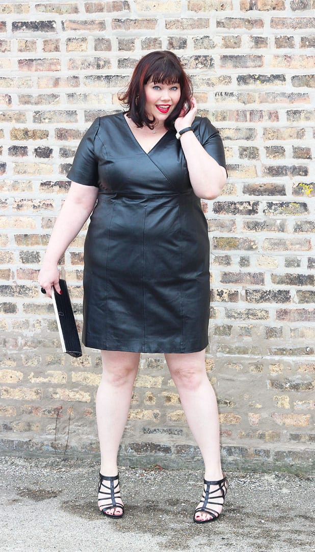 Stylish Plus Size Amber in Black Leather Dress Trend