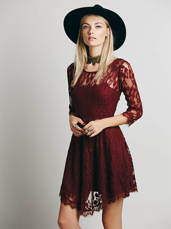 Super Floral Mesh Lace Dress for Fall Season