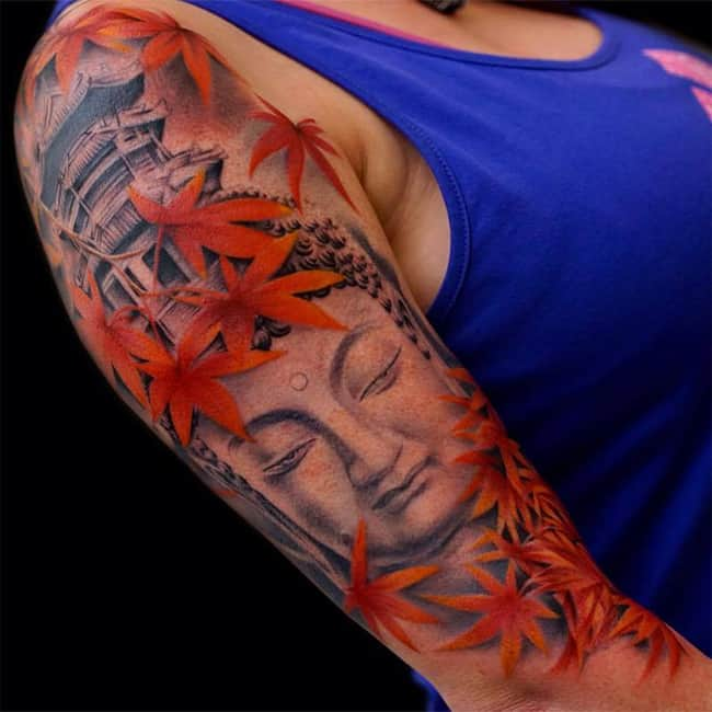 Super Girls Buddha Tattoo on Sleeve for New Year