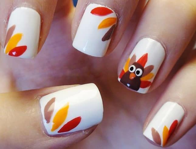 Super White Fall Nail Art Trend for Long Nails