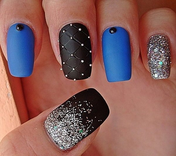 Superb Black and Blue Matte Nail Art Designs 2016