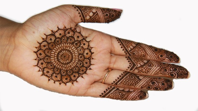 Traditional Circle Mehndi Designs for Front Hand