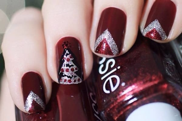 Trendy Maroon Nails Designs for Christmas