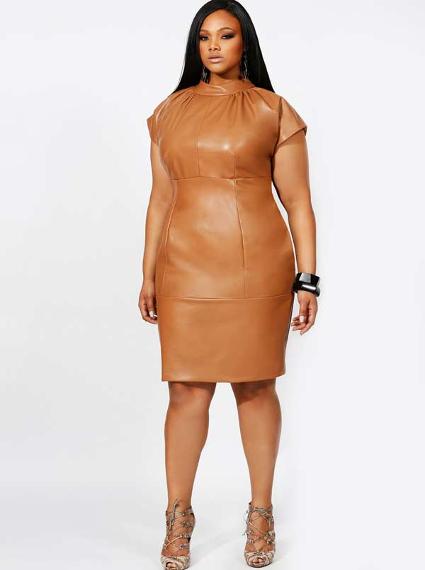 Trendy Plus Size Leather Dresses for Party 2016