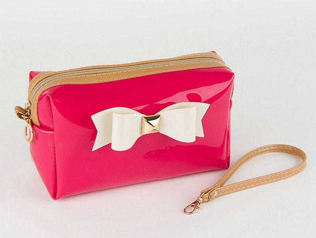 White Bow Travel Makeup Candy Color Retro Bag