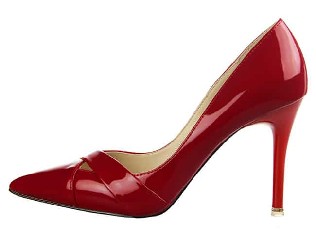 Women Glossy Red Pumps for Wedding