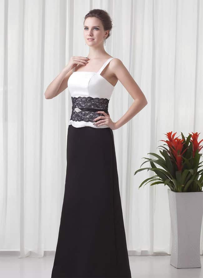 A Line Sleeveless Black and White Occasion Dress