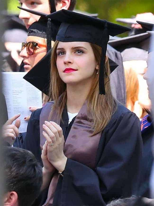 Actress Emma Watson Graduation Hairstyle With Cap