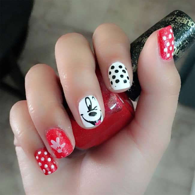 Awesome Red and White Nail Polish for Kids - 15 Most Attractive Kids Nail Designs For Inspiration - SheIdeas
