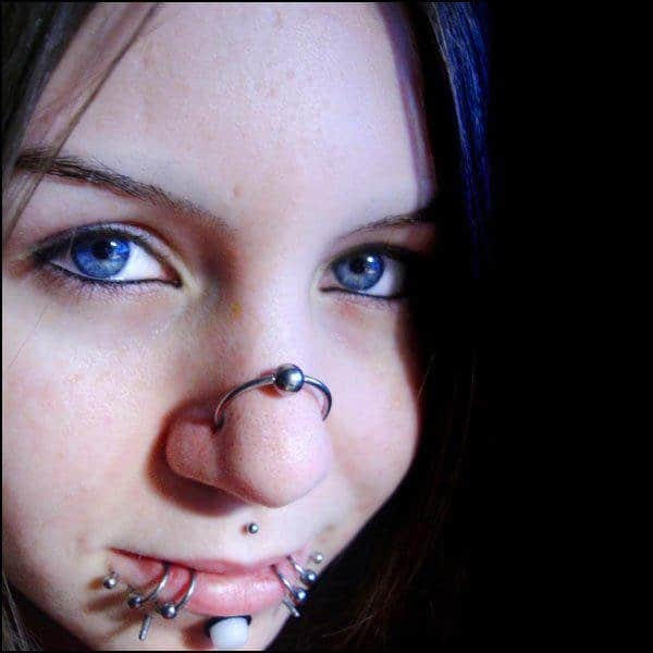 Labret Piercing And Nose Ring