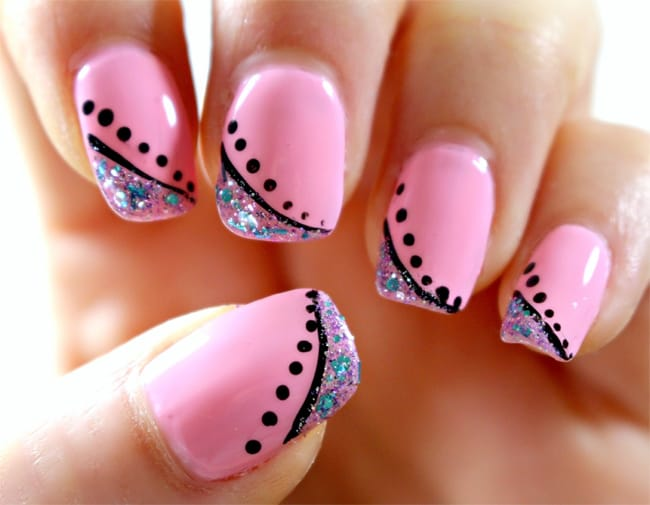 Beautiful Pink and Black Dots Nail Art Ideas