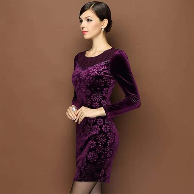 best-flower-print-luxury-purple-winter-dresses-2017