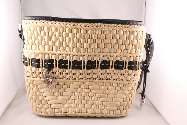 Brighton Straw Handbag With Black Leather Trim Handles