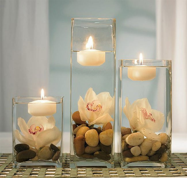 Candle Light Flower Centerpiece for Romantic Dining