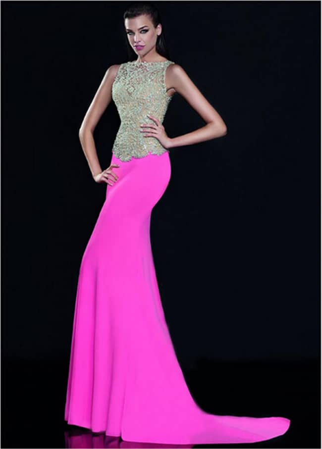 Cool Chiffon Pink Evening Jewel Beads Dresses