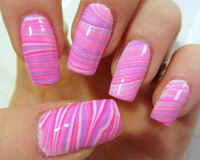 Cool Pink and Purple Water Marble Nail Art Trend