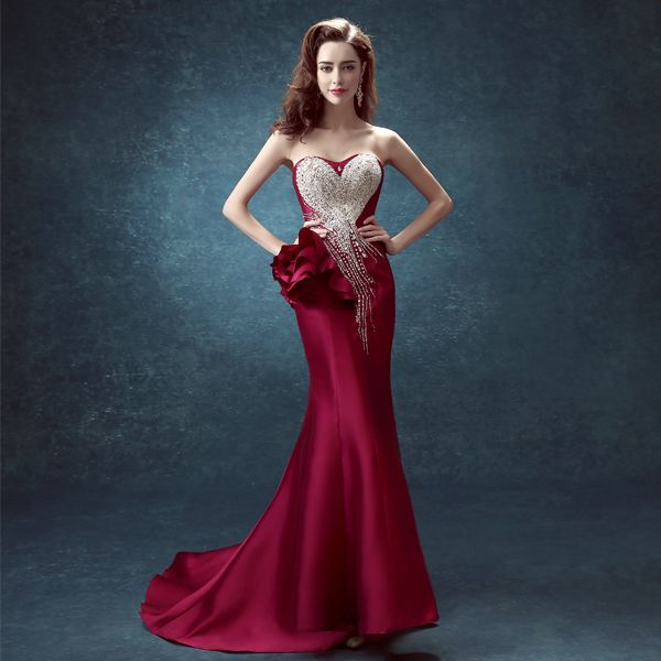 Crystal Beaded Red Long Evening Dresses for Brides
