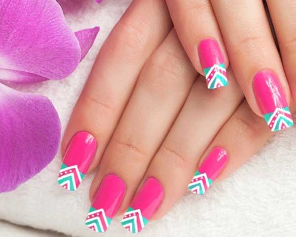 Designer V-Shaped Pink Nail Designs for Wedding