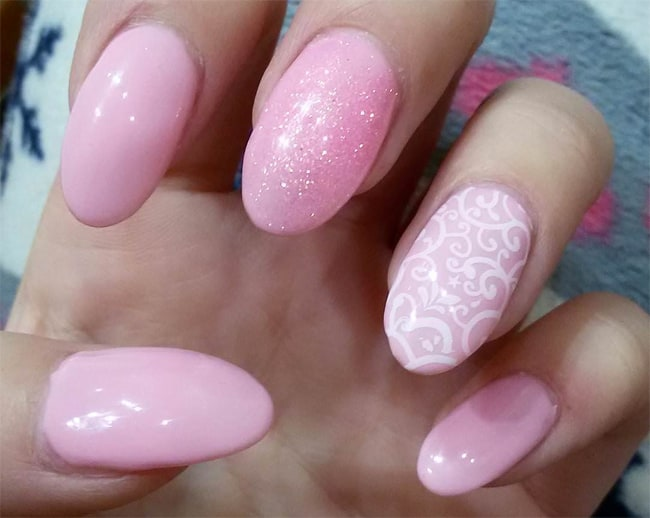 Elegant Light Pink Nail Design for New Year