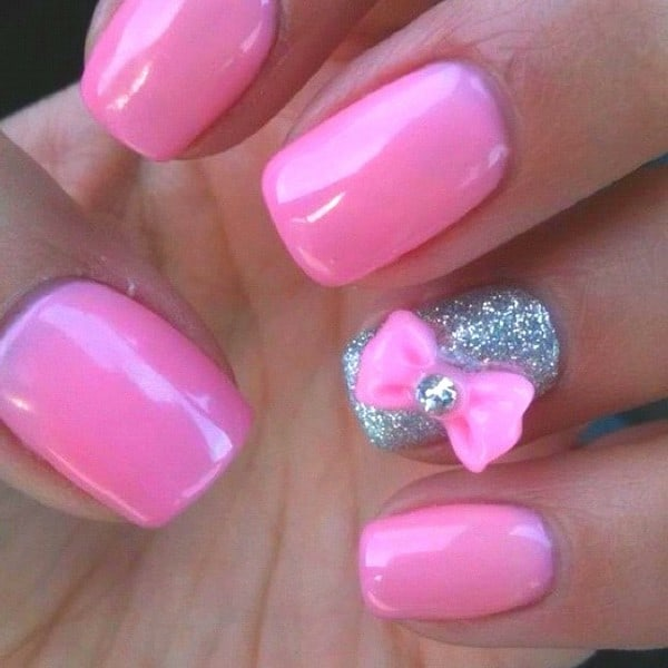 Fresh Glitter Pink Bow Nails Designs 2016