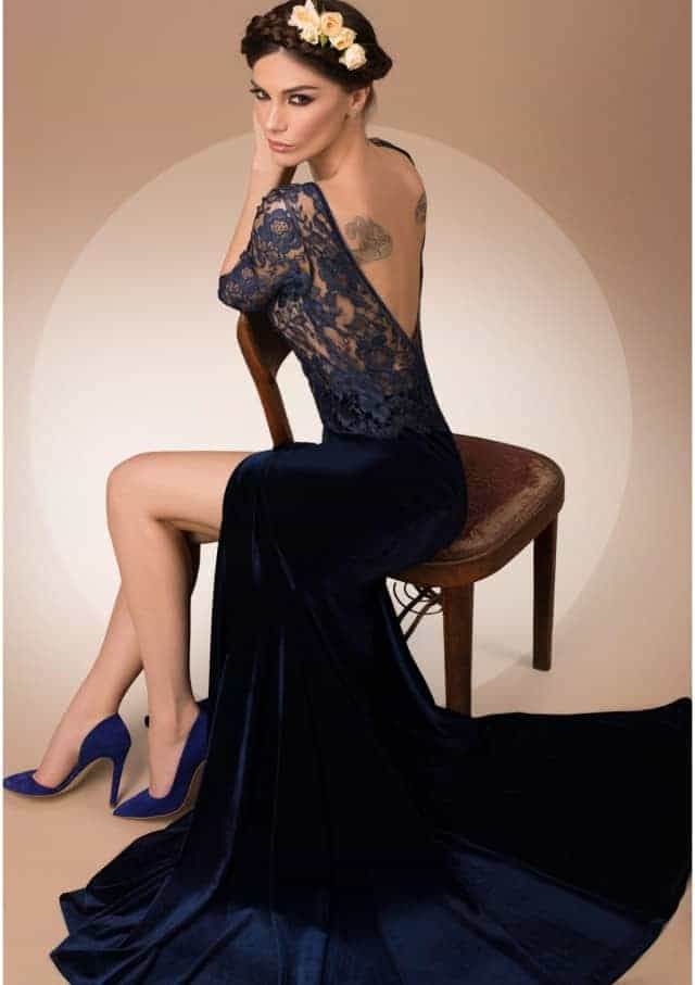 Luxurious Fabrics Back Less Dress for Christmas Party