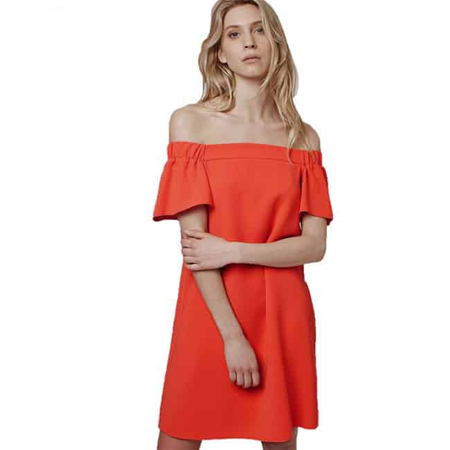 mini-women-off-shoulder-dresses-in-orange-color