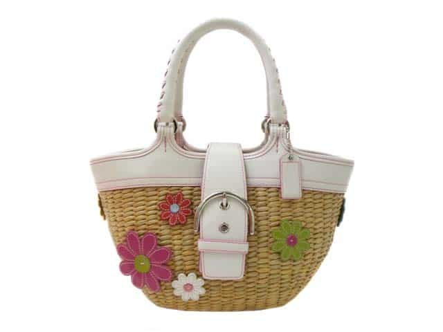 New Coach Flower Straw Handbag for Girls