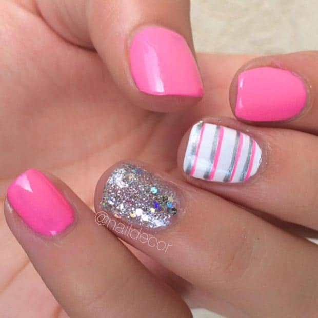 Pink Short Nail Designs for Christmas 2016