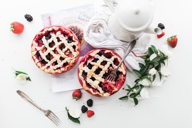 strawberry-and-raspberry-pie-near-white-ceramic-pitcher