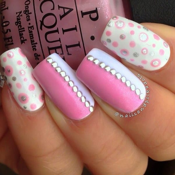 Studs and Dots White and Pink Nail Art for Long Nails