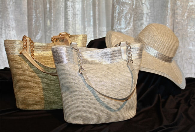 Super Silver and Gold Straw Bags With Silver Hat