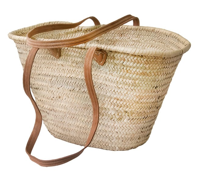Superb Straw Handbag With Leather Handles