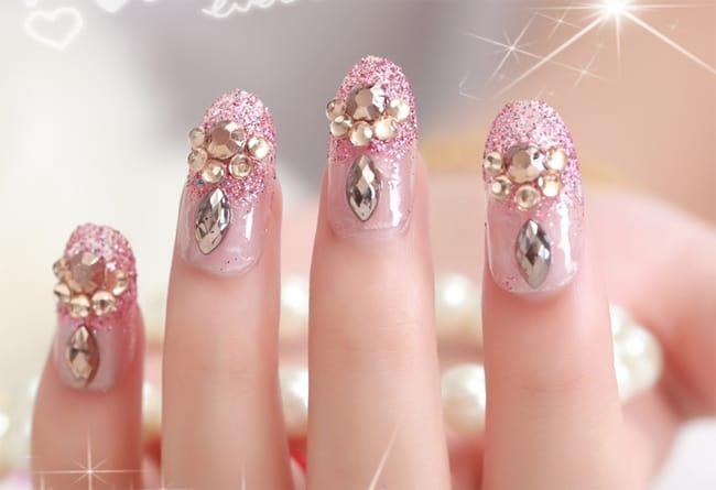 Wedding Pink Nail Art Designs for Brides 2016-17