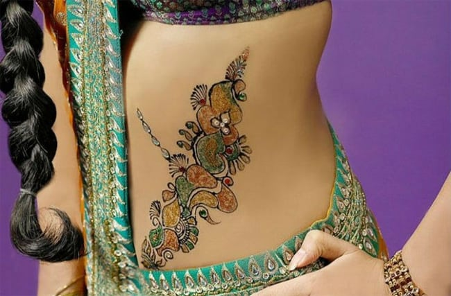 colorful-belly-mehndi-design-ideas-for-wedding