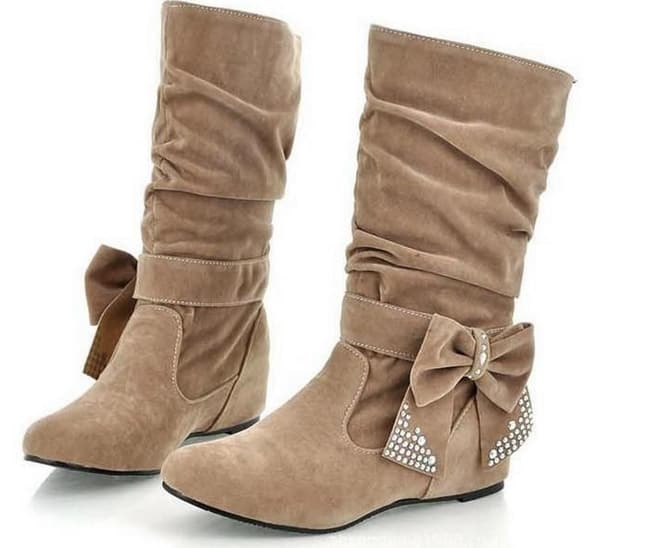 cool-winter-bow-mid-calf-flat-boots-for-party