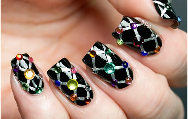 elegant-black-nail-designs-with-rhinestones-2016