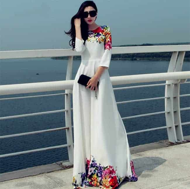 fancy-three-quarter-sleeve-maxi-dress-designs