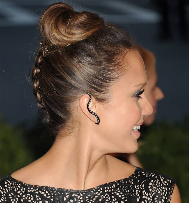 jessica-alba-braid-top-knot-french-hairstyles-2017