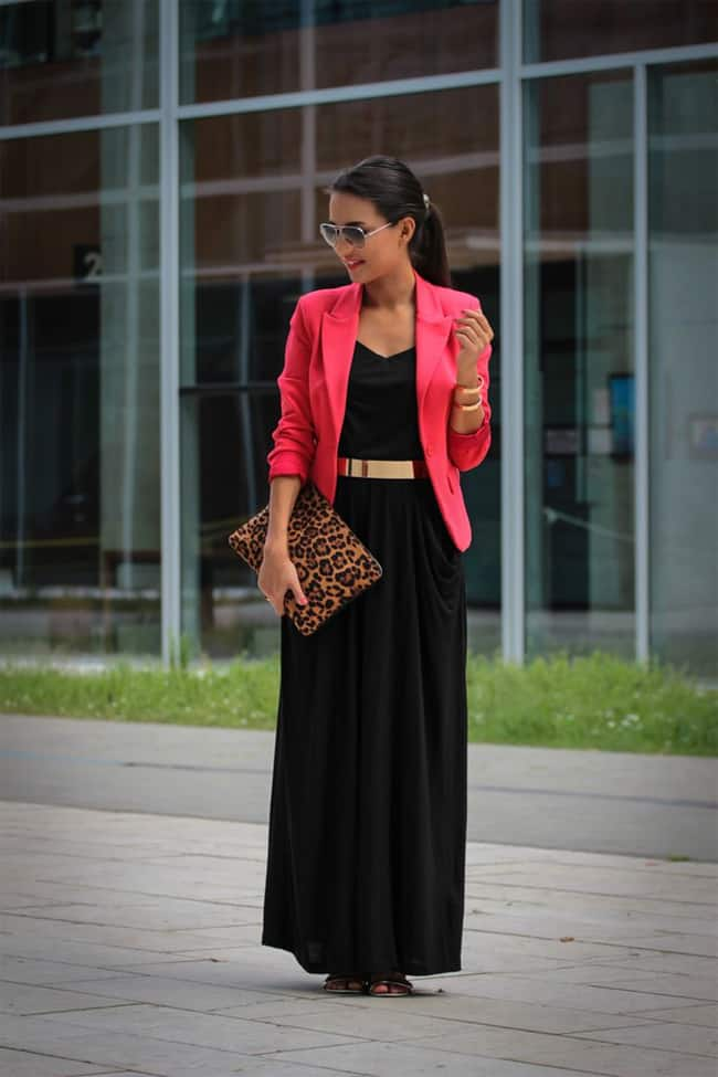 office-women-black-maxi-dress-with-red-coat