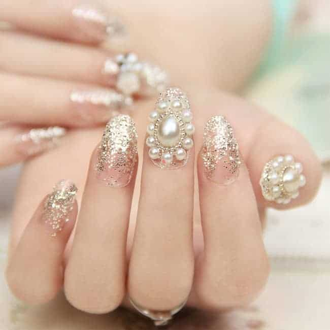 17 cool rhinestone nail designs for inspiration sheideas pearl and rhinestone bridal nail designs for wedding prinsesfo Image collections