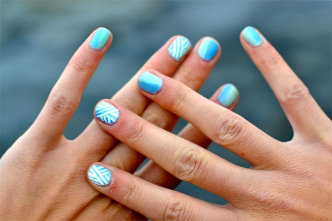 15 amazing diy nail art ideas for girls and women sheideas simple white and blue diy nails designs for small nails prinsesfo Images