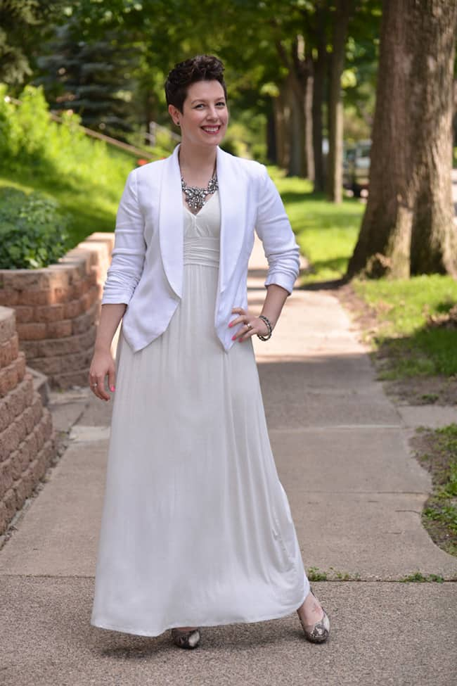 stylish-white-maxi-dress-with-blazer-for-summer-2017