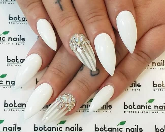 Attractive White Nails Paint Ideas For Wedding