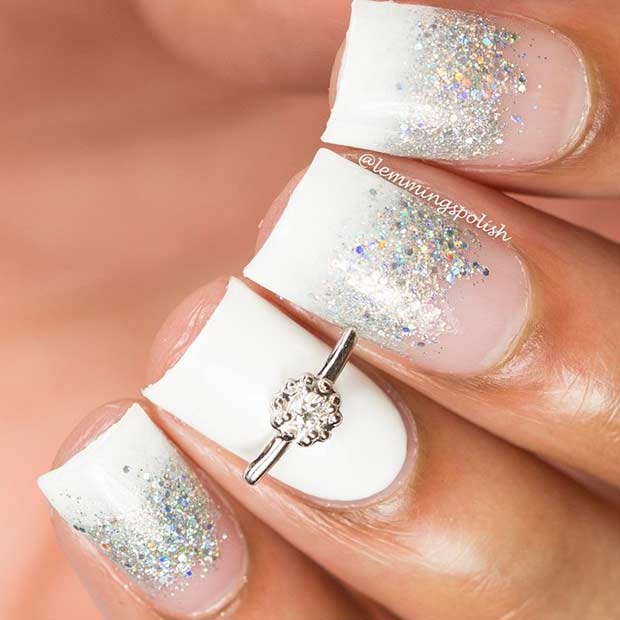 bridal-white-nail-designs-with-silver-glitter