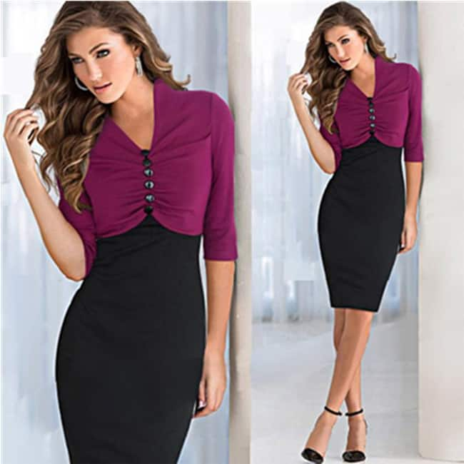 cool-purple-and-black-winter-sleeves-business-dress